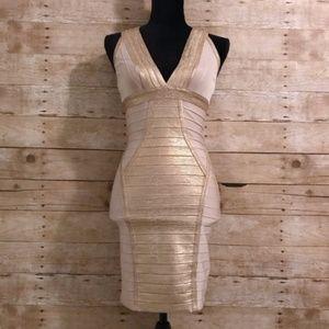 Dresses & Skirts - Tan & Gold Bodycon Bandage Dress XS